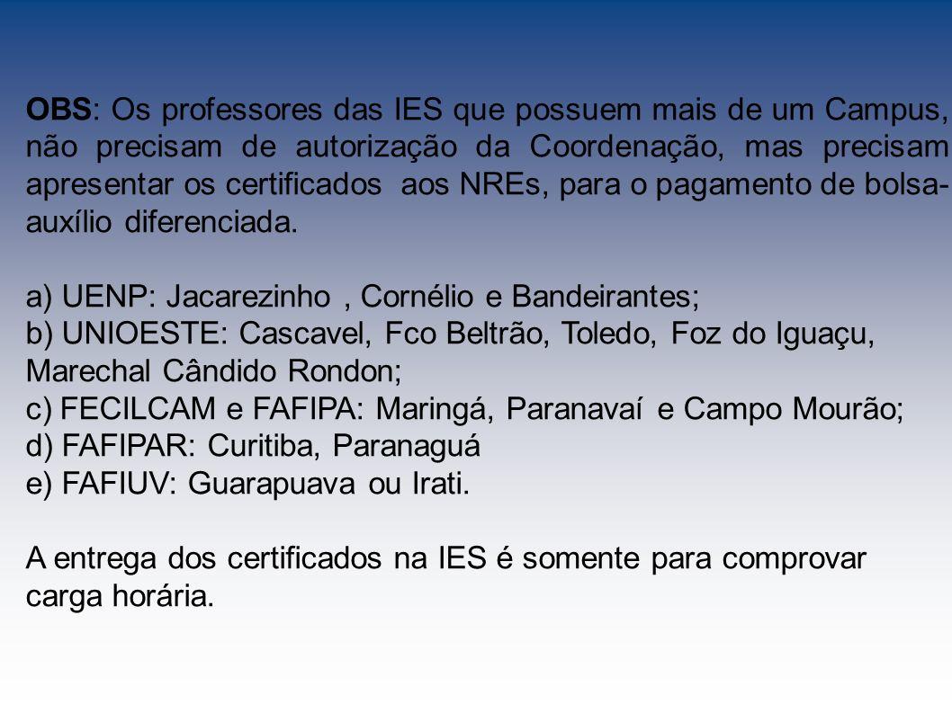 OBS: Os professores das IES que possuem mais de um Campus, não precisam de autorização da Coordenação, mas precisam apresentar os certificados aos NREs, para o pagamento de bolsa-auxílio diferenciada.