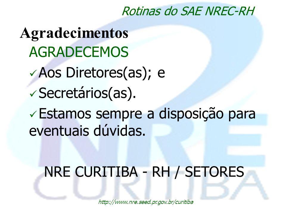 NRE CURITIBA - RH / SETORES