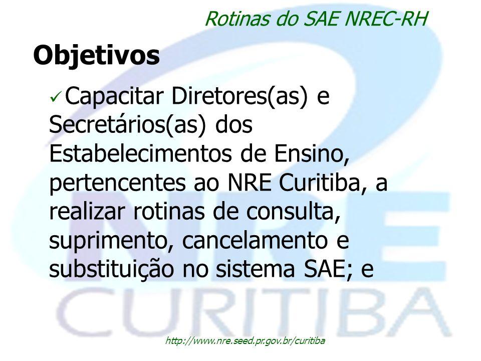Rotinas do SAE NREC-RH Objetivos.
