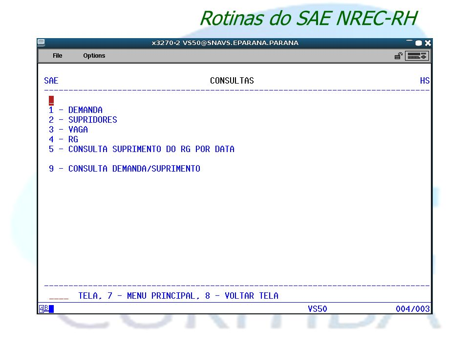 Rotinas do SAE NREC-RH