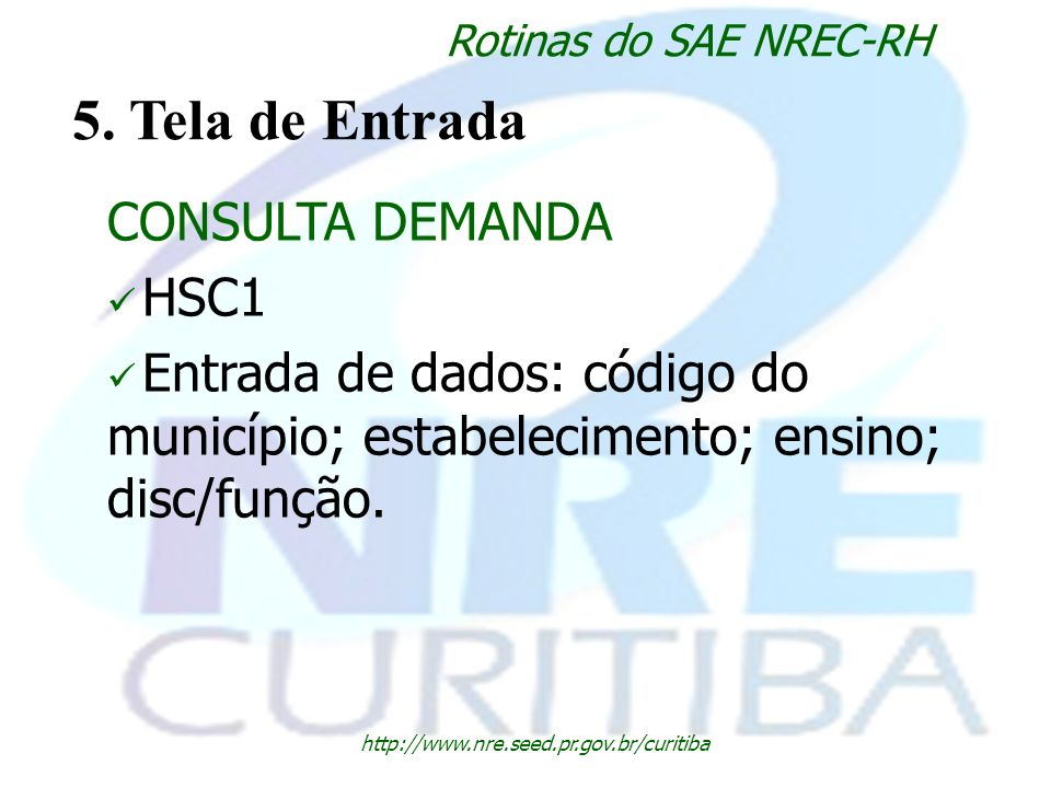 5. Tela de Entrada CONSULTA DEMANDA HSC1