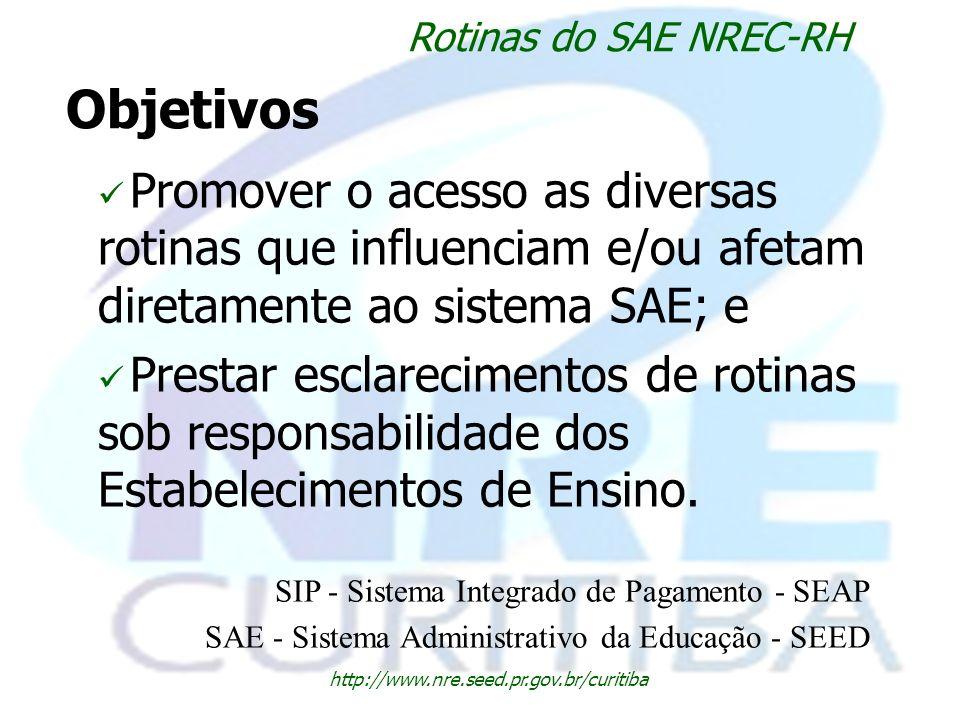 Rotinas do SAE NREC-RH Objetivos. Promover o acesso as diversas rotinas que influenciam e/ou afetam diretamente ao sistema SAE; e.