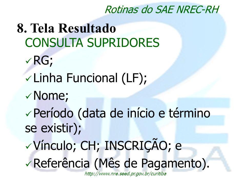 8. Tela Resultado CONSULTA SUPRIDORES RG; Linha Funcional (LF); Nome;