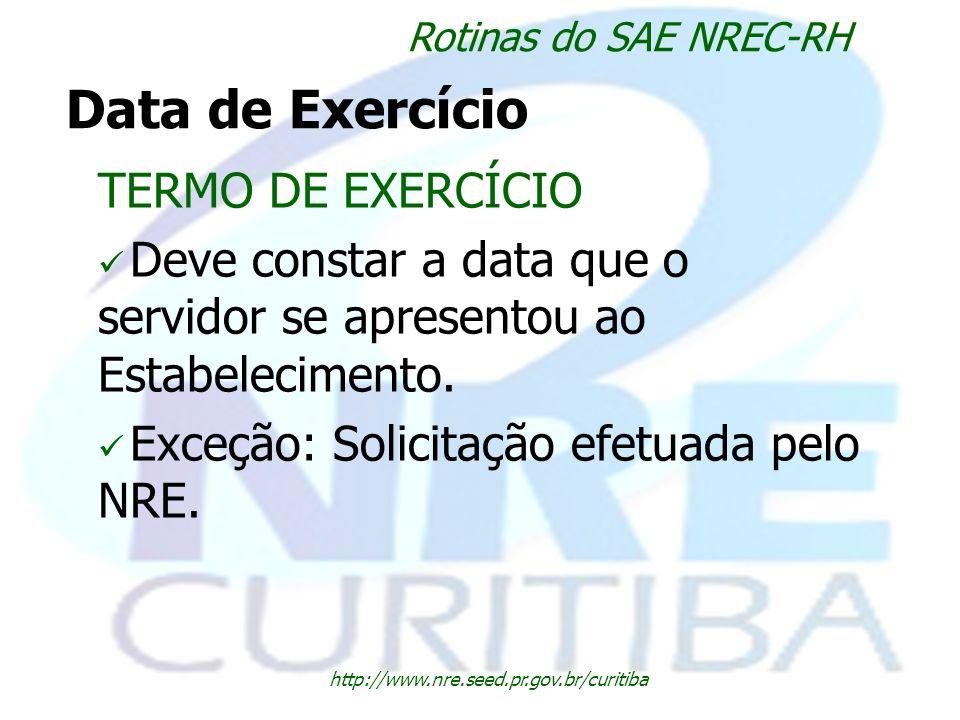Data de Exercício TERMO DE EXERCÍCIO