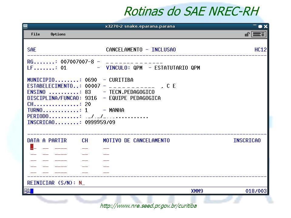 Rotinas do SAE NREC-RH http://www.nre.seed.pr.gov.br/curitiba