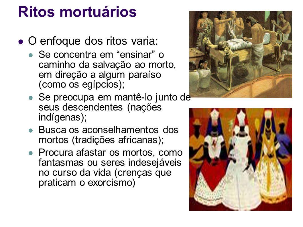 Ritos mortuários O enfoque dos ritos varia: