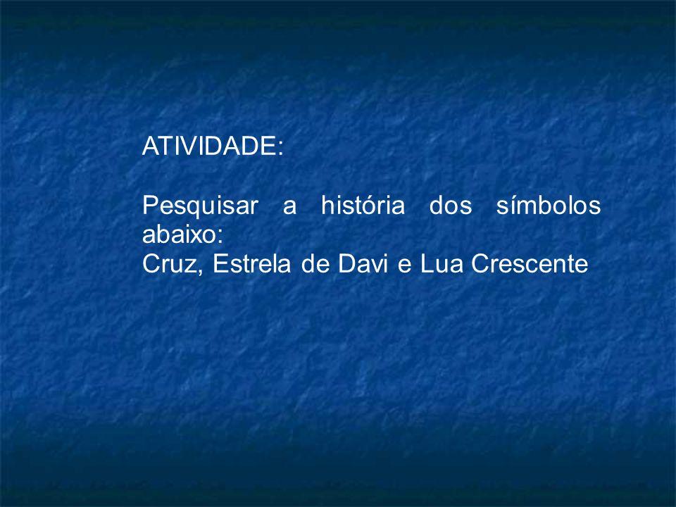 ATIVIDADE: Pesquisar a história dos símbolos abaixo: Cruz, Estrela de Davi e Lua Crescente