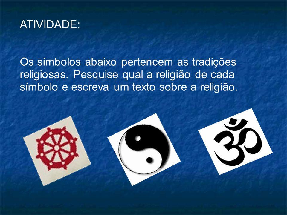 ATIVIDADE: Os símbolos abaixo pertencem as tradições religiosas.