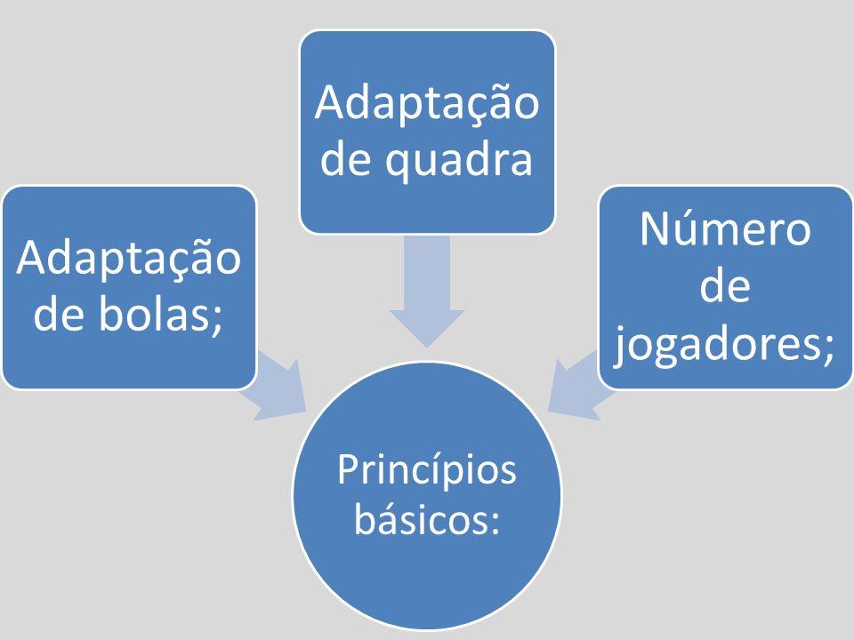 Princípios básicos: Adaptação de bolas; Adaptação de quadra Número de jogadores;