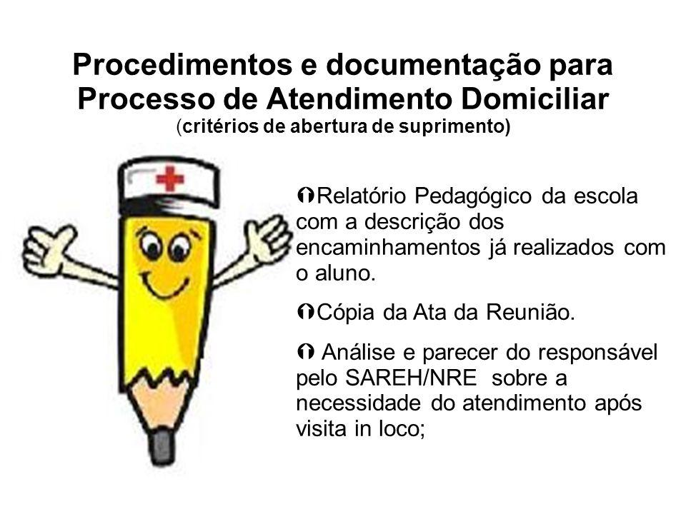 Procedimentos e documentação para Processo de Atendimento Domiciliar (critérios de abertura de suprimento)