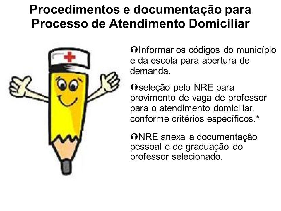 Procedimentos e documentação para Processo de Atendimento Domiciliar