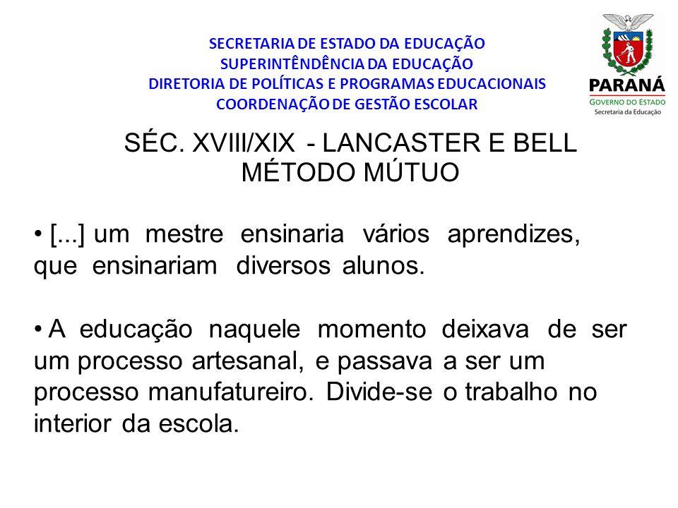 SÉC. XVIII/XIX - LANCASTER E BELL MÉTODO MÚTUO