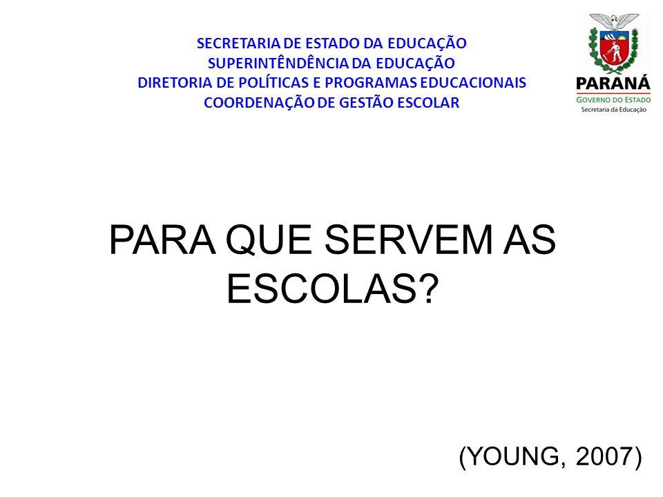 PARA QUE SERVEM AS ESCOLAS (YOUNG, 2007)