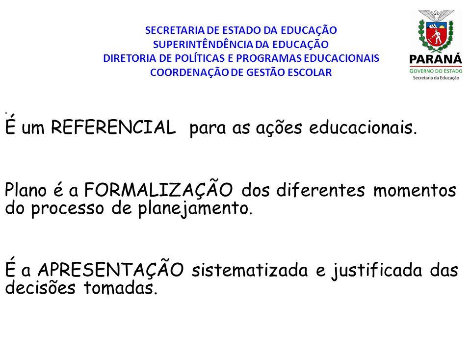 É um REFERENCIAL para as ações educacionais.