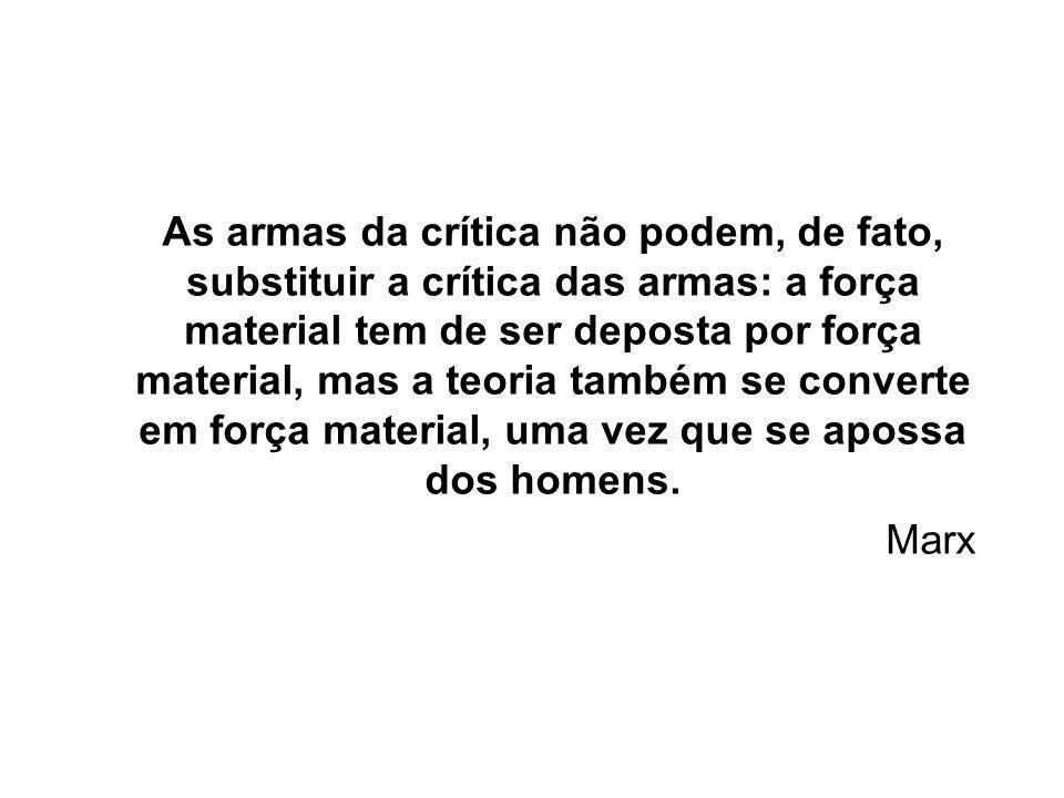 As armas da crítica não podem, de fato, substituir a crítica das armas: a força material tem de ser deposta por força material, mas a teoria também se converte em força material, uma vez que se apossa dos homens.