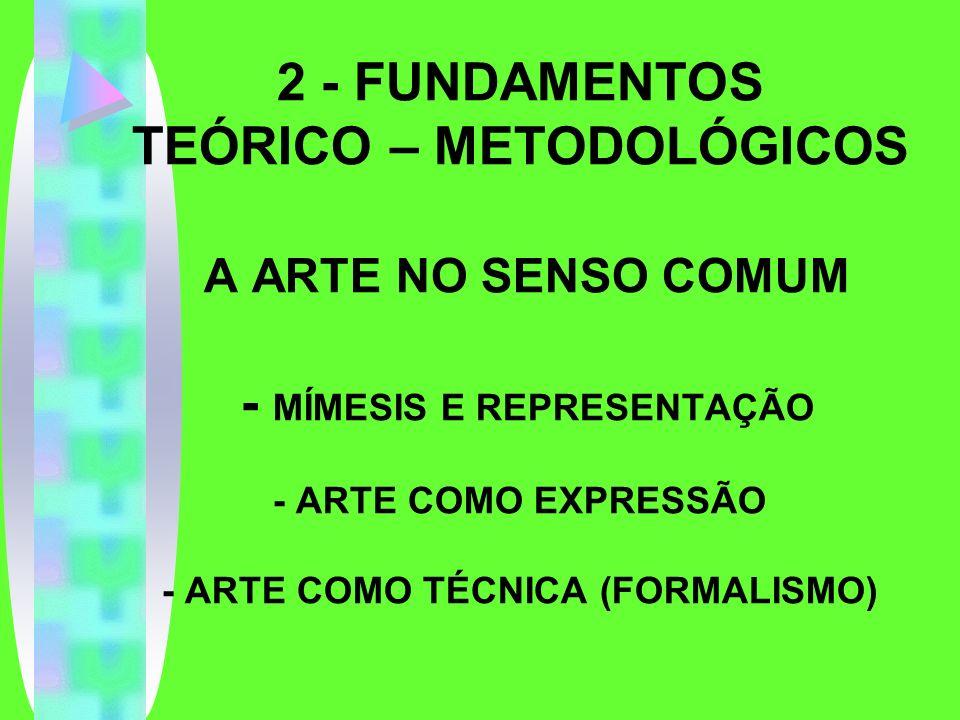 2 - FUNDAMENTOS TEÓRICO – METODOLÓGICOS A ARTE NO SENSO COMUM - MÍMESIS E REPRESENTAÇÃO - ARTE COMO EXPRESSÃO - ARTE COMO TÉCNICA (FORMALISMO)