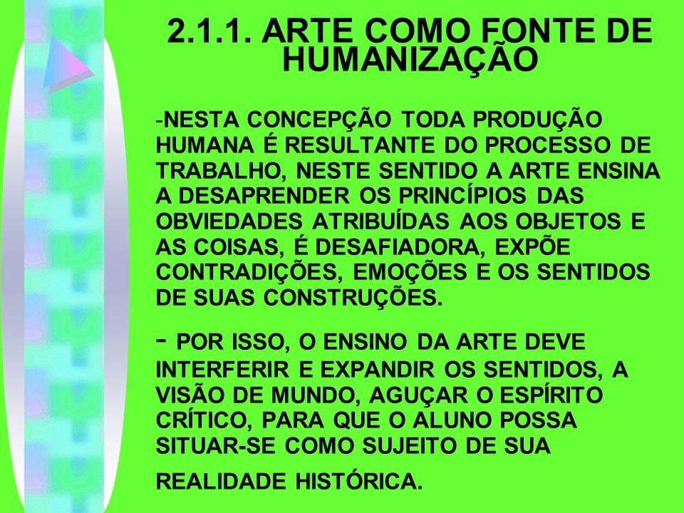2.1.1. ARTE COMO FONTE DE HUMANIZAÇÃO