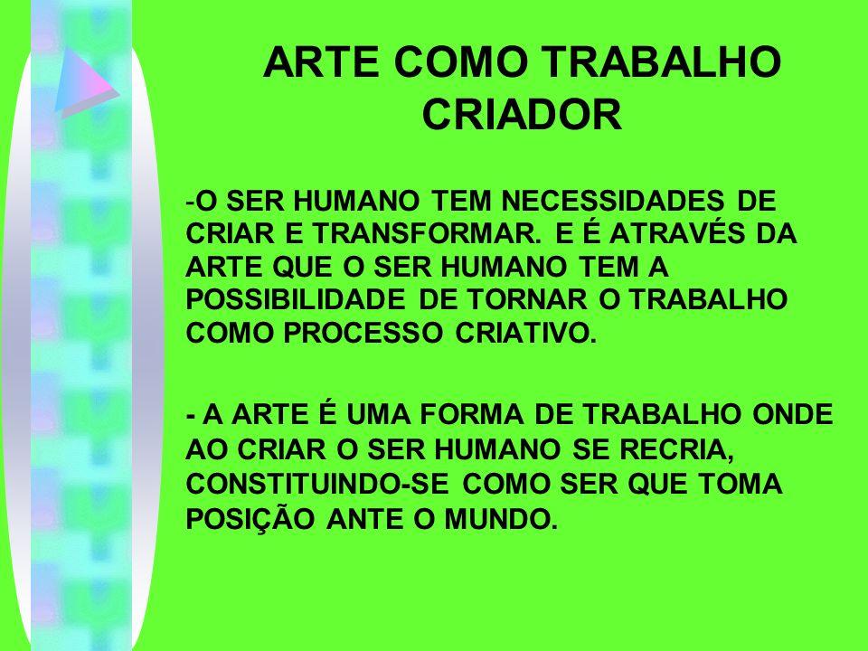 ARTE COMO TRABALHO CRIADOR