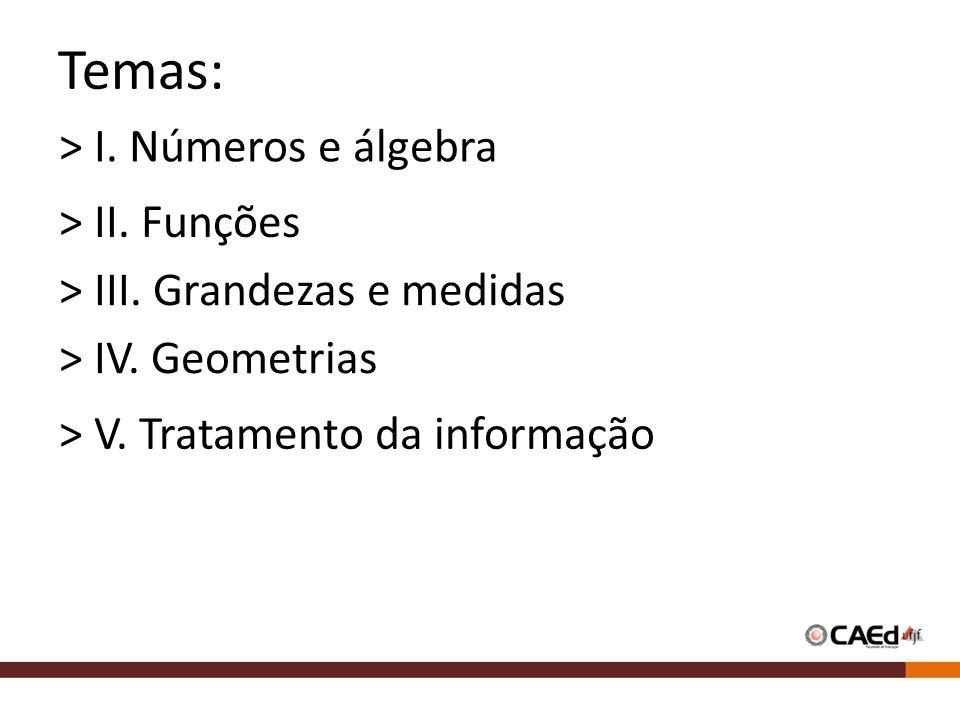 Temas: > I. Números e álgebra > II. Funções