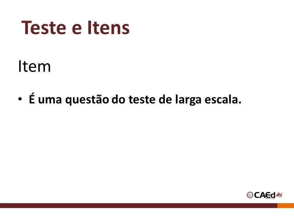 Teste e Itens Item É uma questão do teste de larga escala.