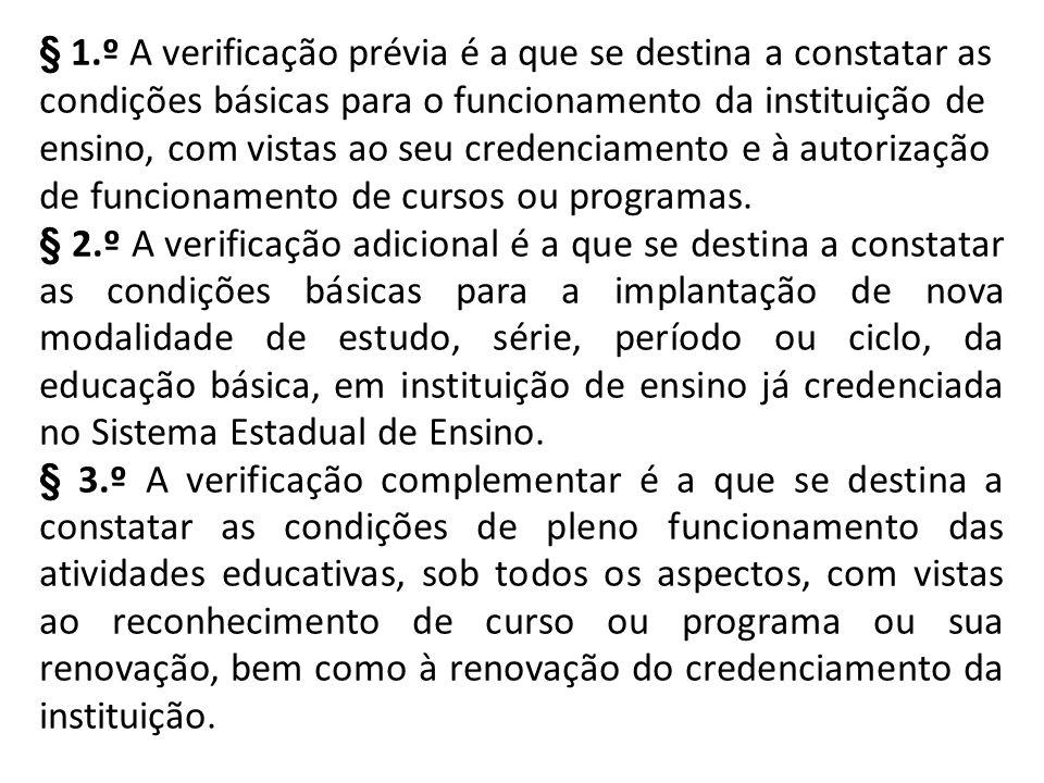 § 1.º A verificação prévia é a que se destina a constatar as condições básicas para o funcionamento da instituição de ensino, com vistas ao seu credenciamento e à autorização de funcionamento de cursos ou programas.