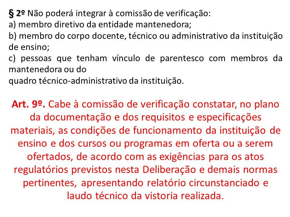 § 2º Não poderá integrar à comissão de verificação: