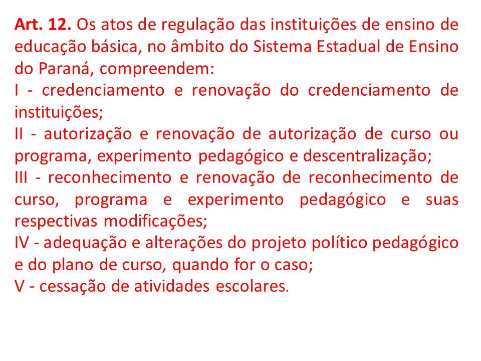 Art. 12. Os atos de regulação das instituições de ensino de educação básica, no âmbito do Sistema Estadual de Ensino do Paraná, compreendem: