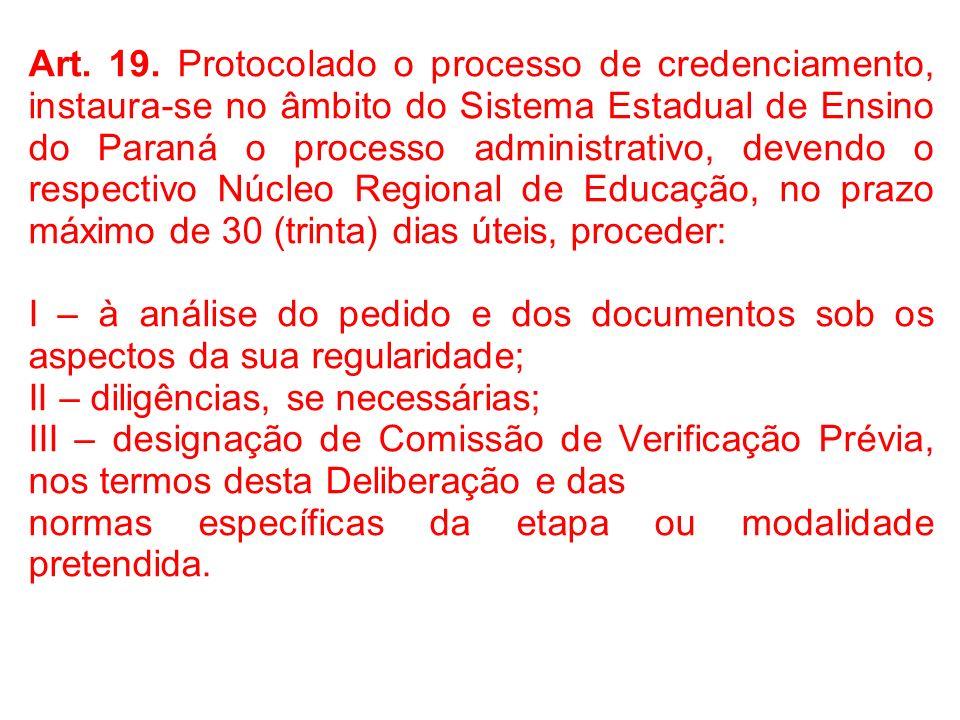 Art. 19. Protocolado o processo de credenciamento, instaura-se no âmbito do Sistema Estadual de Ensino do Paraná o processo administrativo, devendo o respectivo Núcleo Regional de Educação, no prazo máximo de 30 (trinta) dias úteis, proceder:
