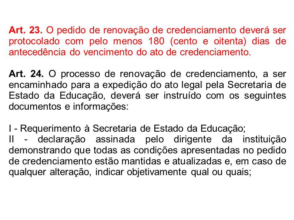 Art. 23. O pedido de renovação de credenciamento deverá ser protocolado com pelo menos 180 (cento e oitenta) dias de antecedência do vencimento do ato de credenciamento.