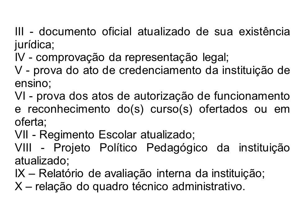 III - documento oficial atualizado de sua existência jurídica;