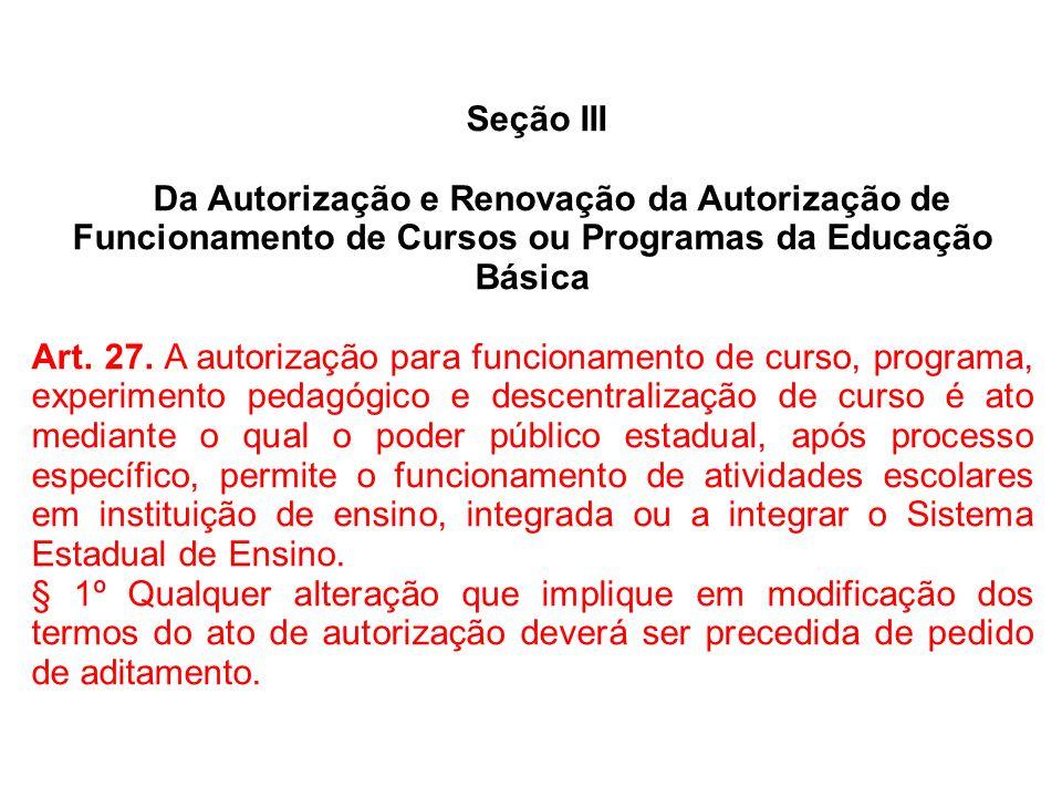 Seção IIIDa Autorização e Renovação da Autorização de Funcionamento de Cursos ou Programas da Educação Básica.