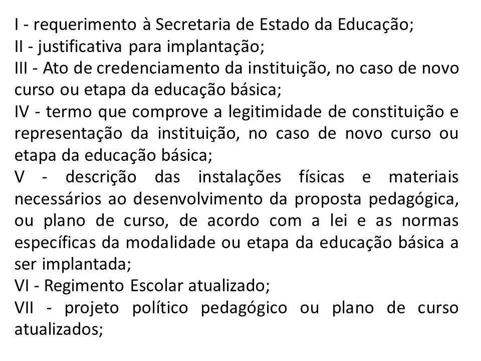 I - requerimento à Secretaria de Estado da Educação;