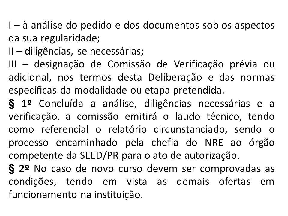 I – à análise do pedido e dos documentos sob os aspectos da sua regularidade;
