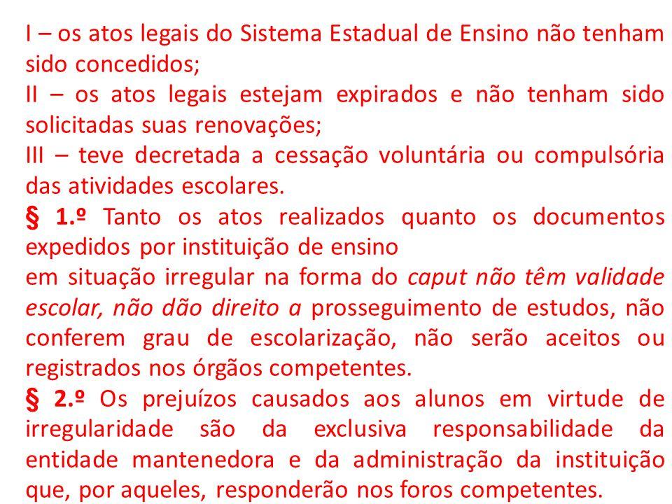 I – os atos legais do Sistema Estadual de Ensino não tenham sido concedidos;