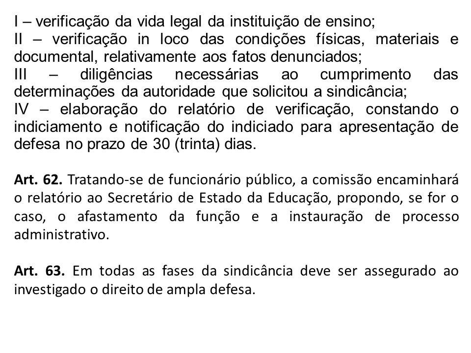 I – verificação da vida legal da instituição de ensino;