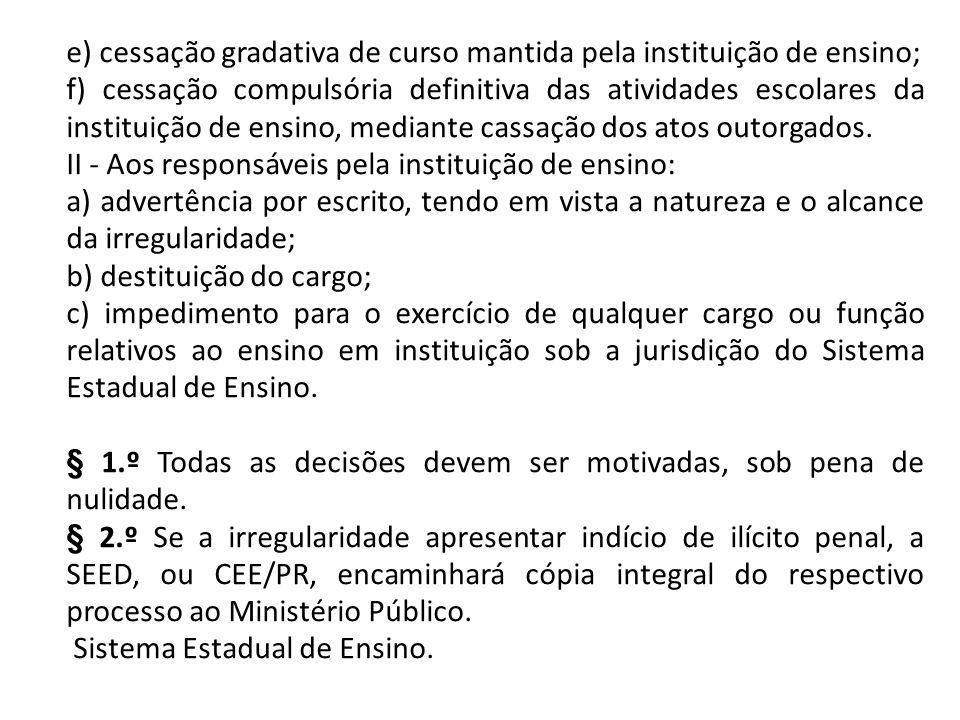 e) cessação gradativa de curso mantida pela instituição de ensino;