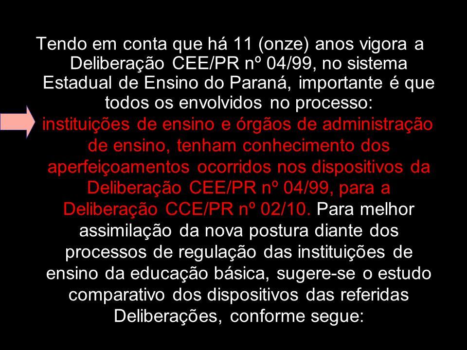 Tendo em conta que há 11 (onze) anos vigora a Deliberação CEE/PR nº 04/99, no sistema Estadual de Ensino do Paraná, importante é que todos os envolvidos no processo:
