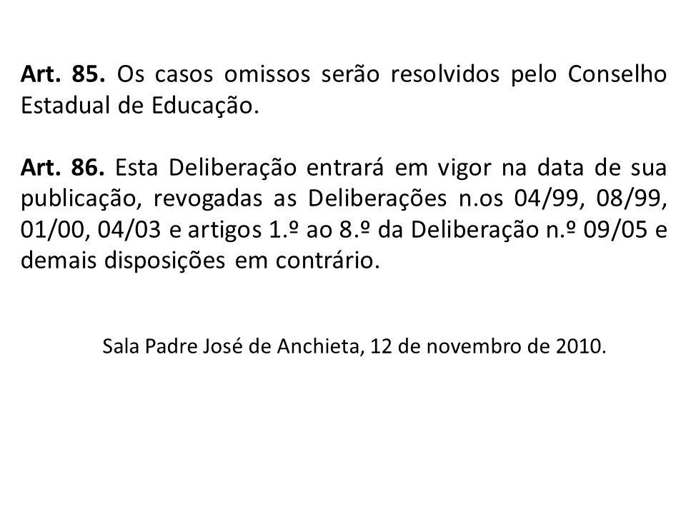 Art. 85. Os casos omissos serão resolvidos pelo Conselho Estadual de Educação.