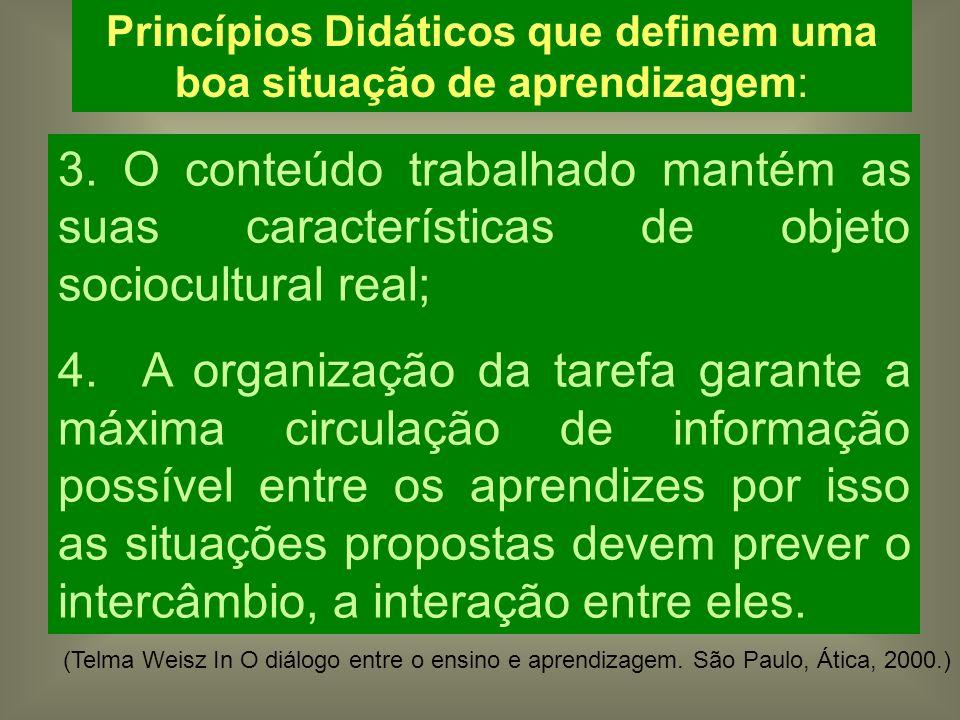 Princípios Didáticos que definem uma boa situação de aprendizagem: