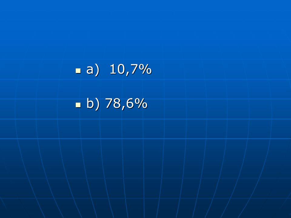 a) 10,7% b) 78,6%