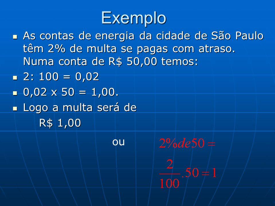 Exemplo As contas de energia da cidade de São Paulo têm 2% de multa se pagas com atraso. Numa conta de R$ 50,00 temos:
