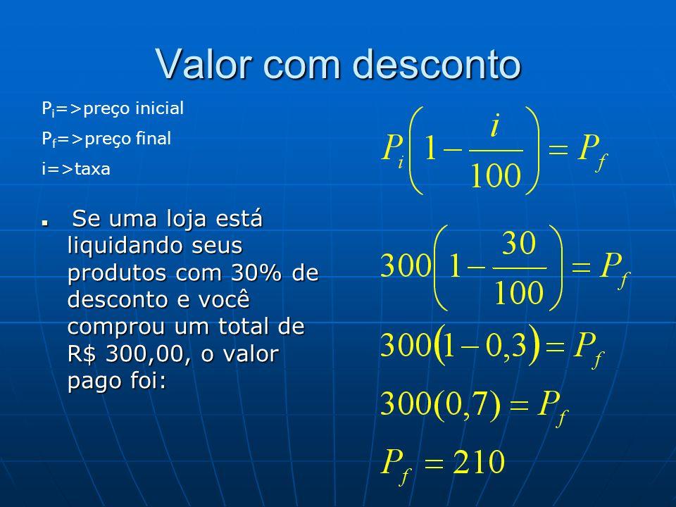 Valor com desconto Pi=>preço inicial Pf=>preço final i=>taxa