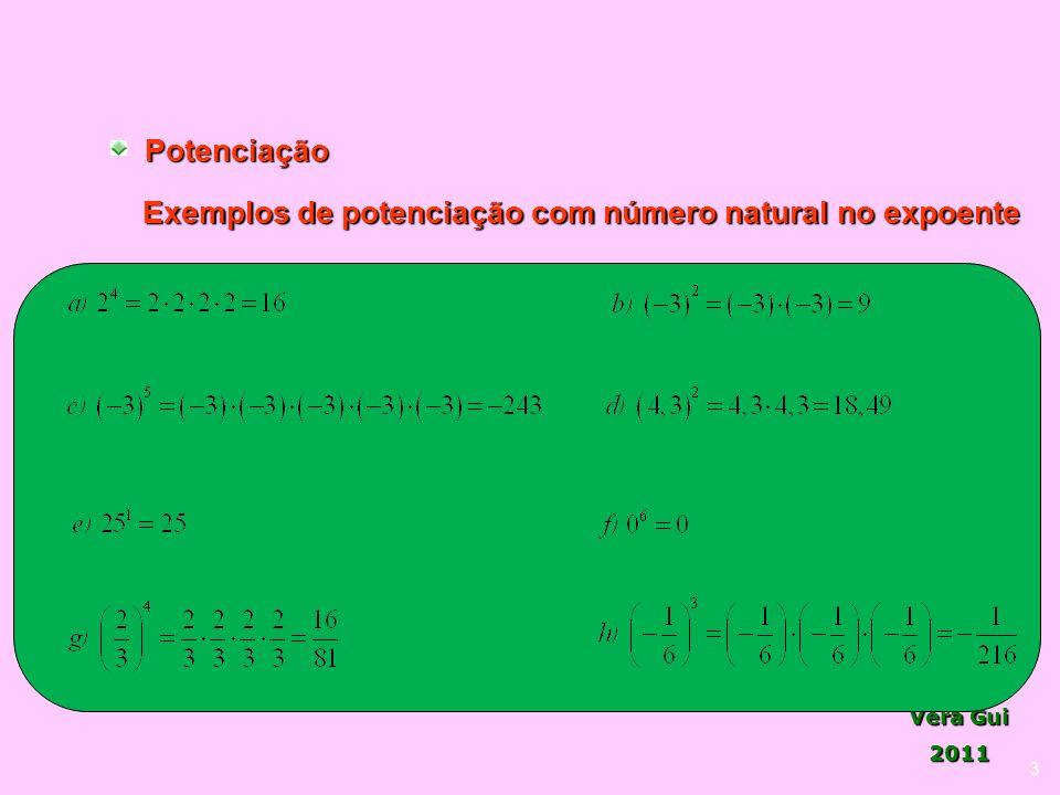 Exemplos de potenciação com número natural no expoente
