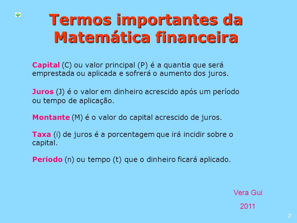 Termos importantes da Matemática financeira