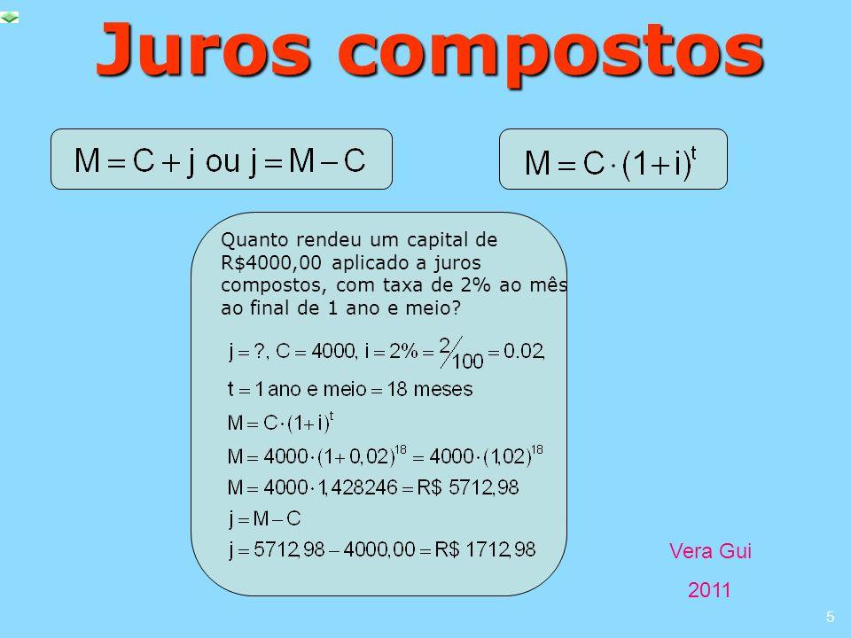Juros compostos Quanto rendeu um capital de R$4000,00 aplicado a juros compostos, com taxa de 2% ao mês ao final de 1 ano e meio