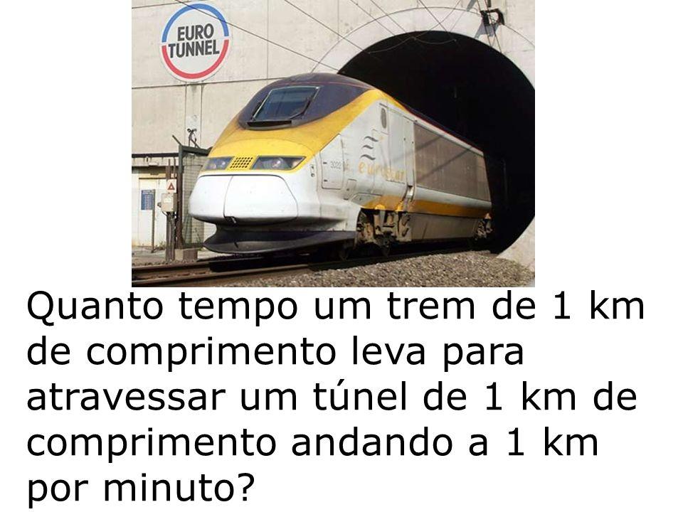 Quanto tempo um trem de 1 km de comprimento leva para atravessar um túnel de 1 km de comprimento andando a 1 km por minuto