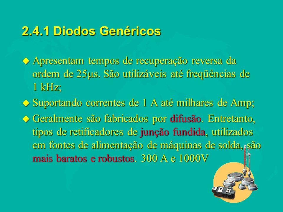 2.4.1 Diodos Genéricos Apresentam tempos de recuperação reversa da ordem de 25s. São utilizáveis até freqüências de 1 kHz;