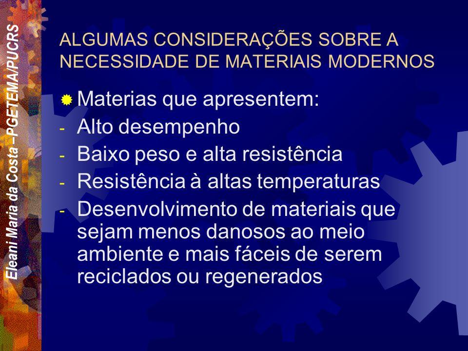 ALGUMAS CONSIDERAÇÕES SOBRE A NECESSIDADE DE MATERIAIS MODERNOS