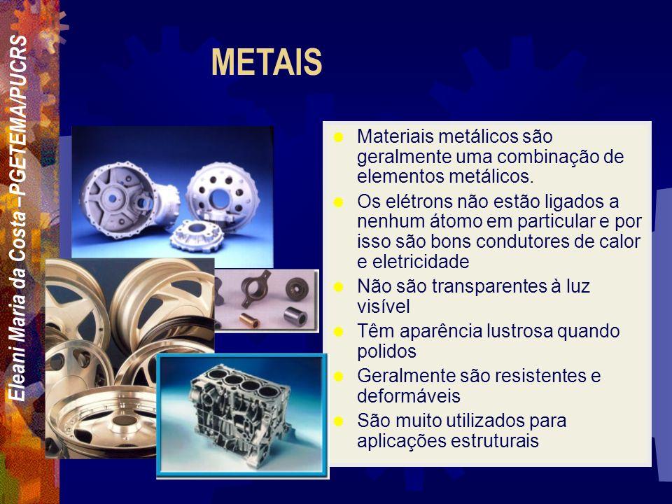 METAIS Materiais metálicos são geralmente uma combinação de elementos metálicos.
