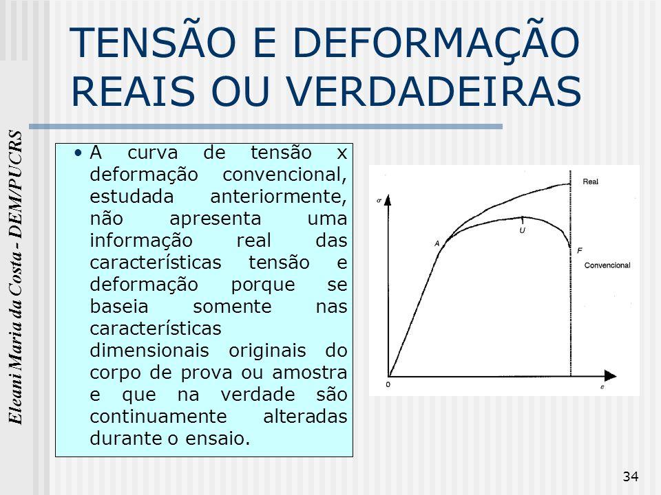 TENSÃO E DEFORMAÇÃO REAIS OU VERDADEIRAS